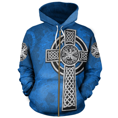 Image of Celtic Cross Lion - Scottish Blue Zip Hoodie | Love Scotland