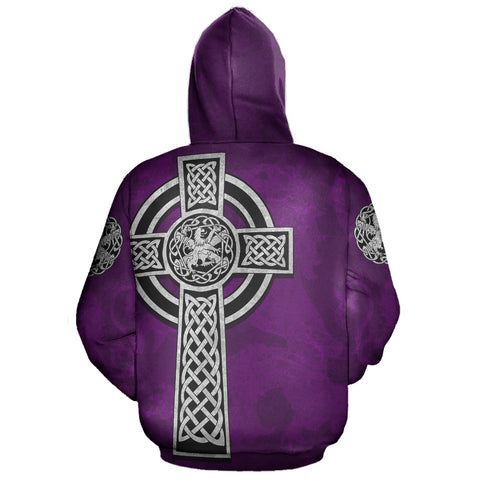 Celtic Cross Lion - Purple Pullover Hoodie | Love Scotland