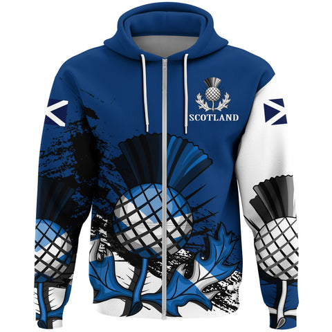 Image of Scotland Hoodie, Thistle Zip Up All Over Print Hoodie A7