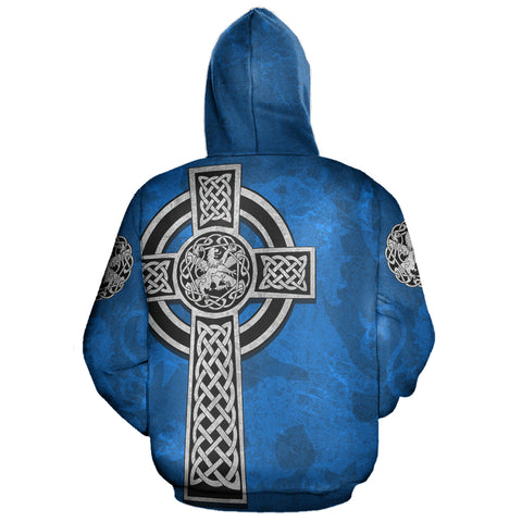 Celtic Cross Lion - Scottish Blue Pullover Hoodie | Love Scotland