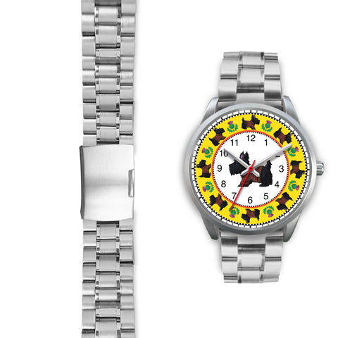 Terrier Tartan - Scotland Silver Watch | Special Custom Design