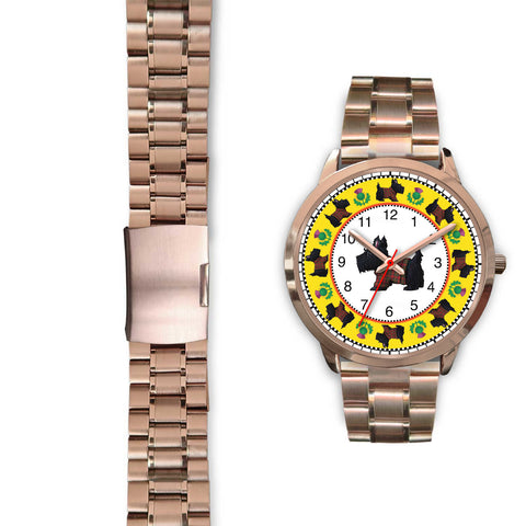Terrier Tartan - Scotland Rose Gold Watch | Special Custom Design