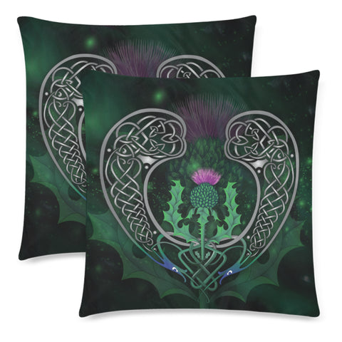 Image of Scotland Pillow Case - Celtic Thistle Green | Love Scotland