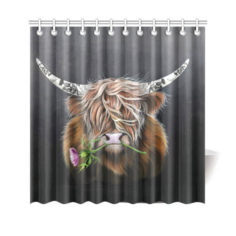 Scotland Shower Curtain - Thistle Highland Cow | Love Scotland