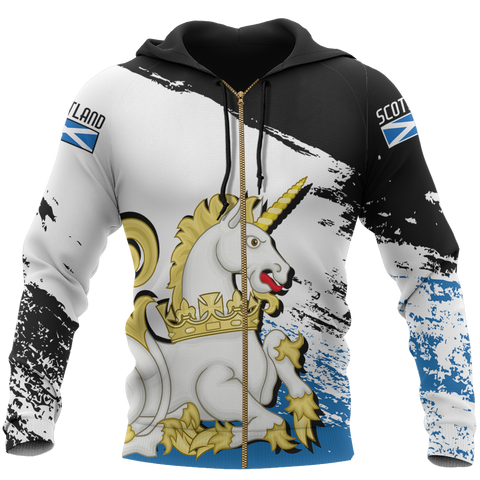 Scotland Royal Unicorn Allover Zip Hoodie | Clothing | Love Scotland