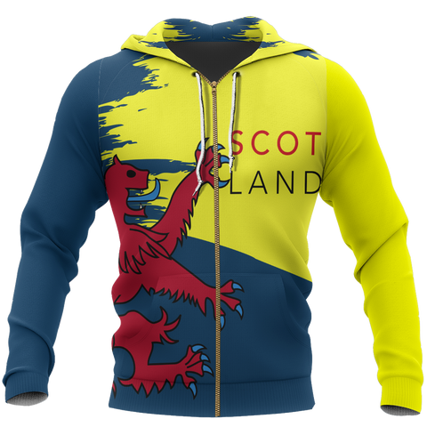 Scotland Lion Painting Allover Zip Hoodie