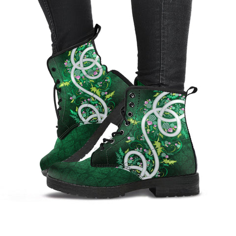 Green Thistle Wreath Leather Boots