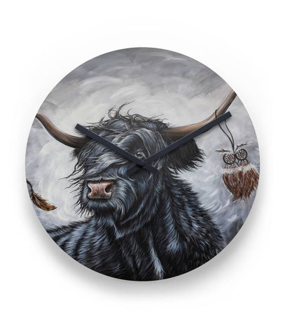 "Cattle Highland Cow 01 -  11"" Round Wall Clock 