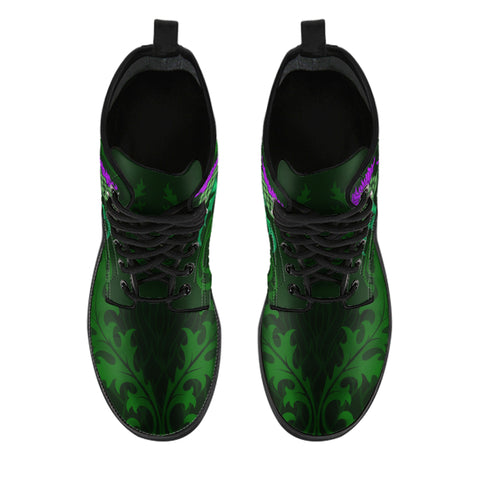 Rising Thistle Flower - Scotland Leather Boots | Special Custom Design