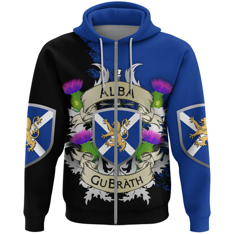 Image of Scotland Zip Hoodie - Scotland Forever Flag Lion Thistle (Alba GuBràth) A02