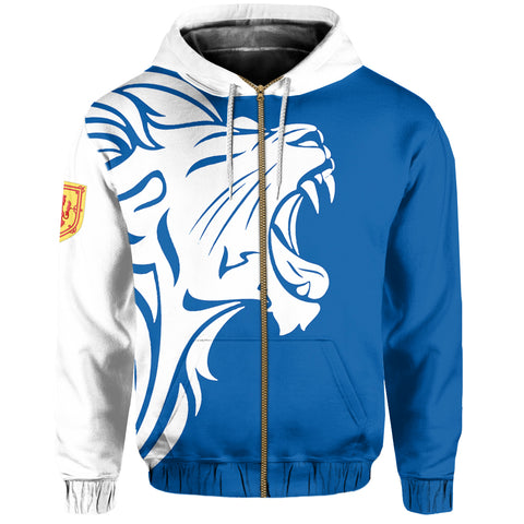 Image of Scottish Lion Roar Allover Print Zip Hoodie | Clothing | 1stScotland