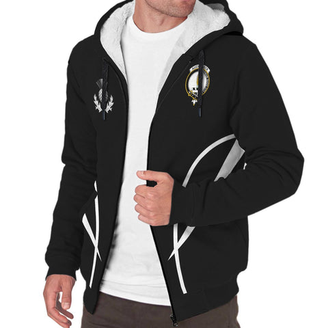 Auchinleck or Affleck Crest Sherpa Hoodie - Acitve Black | Over 300 clans