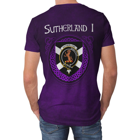 Image of Sutherland I Crest Scotland Purple T-Shirt | Over 300 Clans