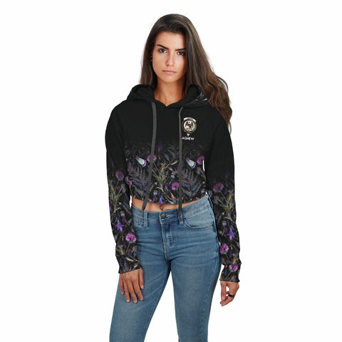 Agnew Crest Crop Top Hoodie Scottish Thistle | Over 300 Clans | High Quality