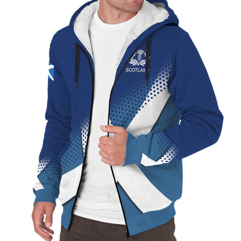 Adam Crest Scottish Dots Flag Scotland Sherpa Hoodie | Over 300 Clans