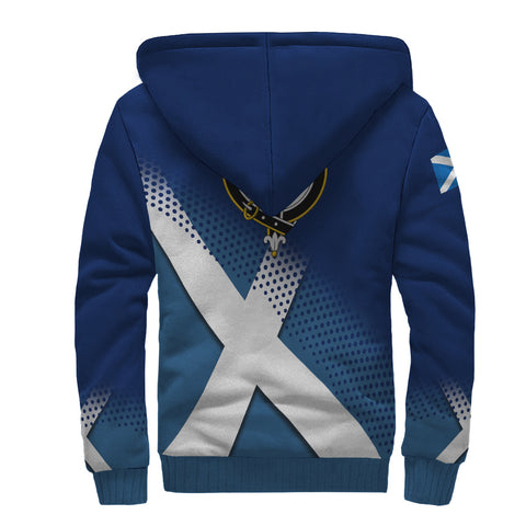 Ainslie Crest Scottish Dots Flag Scotland Sherpa Hoodie | Over 300 Clans