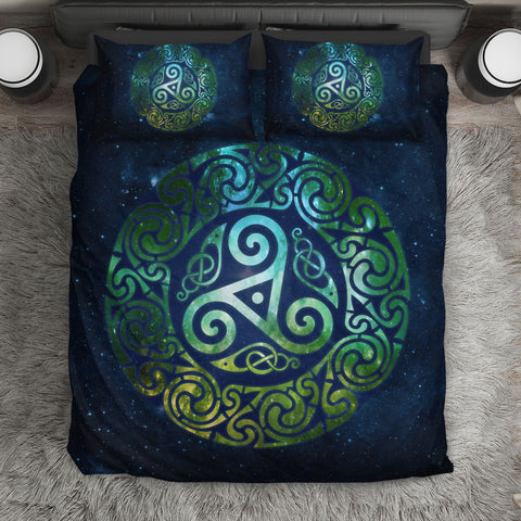 Celtic Triple Spiral Galaxy Bedding Set - Green Edition (Black) | HOT Sale