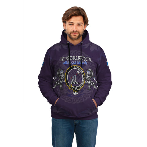 Anstruther  Crest Scotland Hoodie Purple - Celtic Thistle and Lion King A18