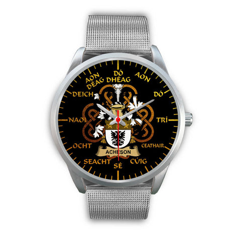 Acheson Ireland Watch Gold Irish Celtic Shamrock (Silver) | Over 1400 Crests | Accessories | High Quality