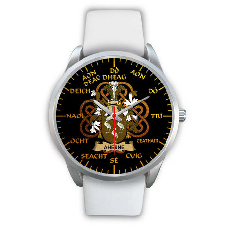 Aherne or Mulhern Ireland Watch Gold Irish Celtic Shamrock (Silver) | Over 1400 Crests | Accessories | High Quality