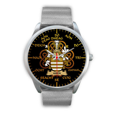 Aiken Ireland Watch Gold Irish Celtic Shamrock (Silver) | Over 1400 Crests | Accessories | High Quality