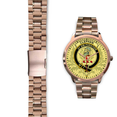 Scotland Watch, Clephan (or Clephane) Crest Scottish Thislte Rose Gold Watch | Scottish Watch | Scottish Accessories