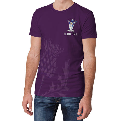 Achmuty Crest Scottish Thistle Scotland T-shirt Purple | Over 1000 Clans