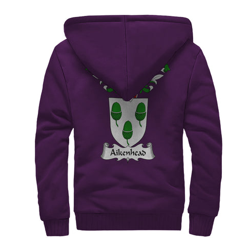 Image of Aikenhead Crest Scottish Thistle Scotland Sherpa Hoodie Purple | Over 1000 Clans