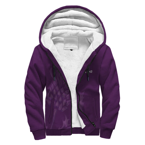 Image of Bannatyne Crest Scottish Thistle Scotland Sherpa Hoodie Purple | Over 1000 Clans