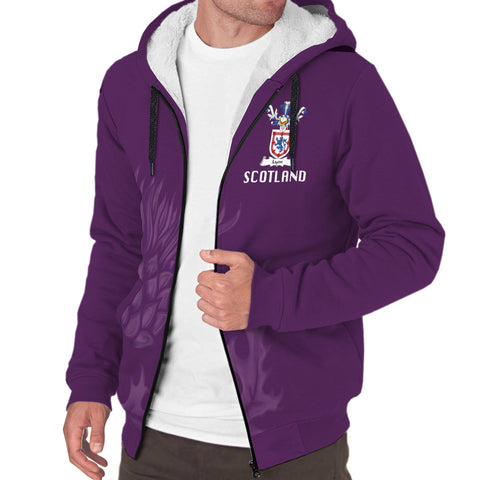 Lyon Crest Scottish Thistle Scotland Sherpa Hoodie Purple | Over 1000 Clans