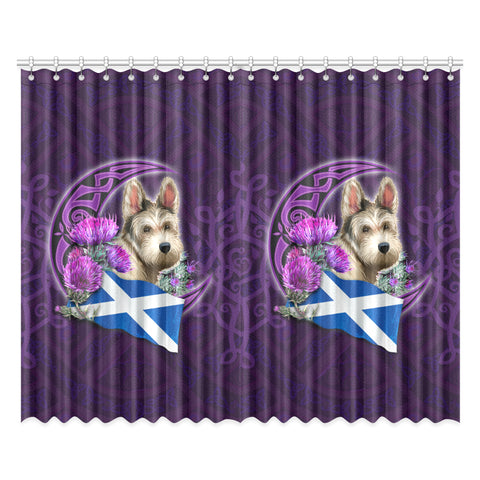 Scotland Window Curtain Celtic Tree Of Life - Scottish Terrier And Thistle Moon Celtic
