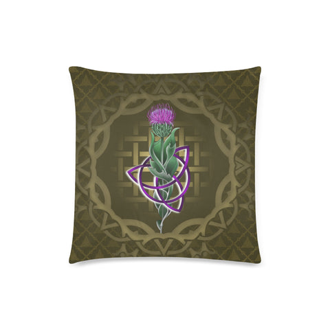 Image of Scotland Pillow Case - Thistle Celtic Knot Circle Frame | Love Scotland