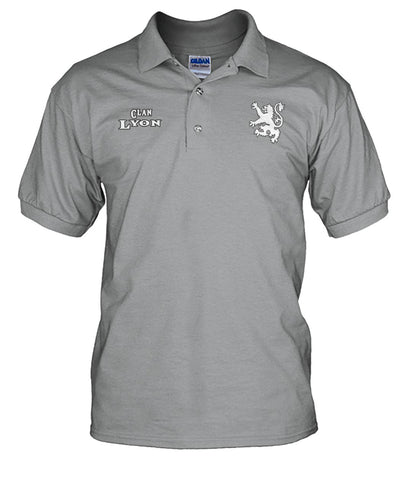 Clan Lyon Scottish Rampant Lion Mens Polo Shirt | Over 300 Clans | Special Custom Design | Love Scotland