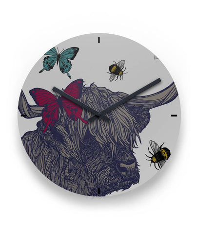 "Highland Cow - 11"" Round Wall Clock 