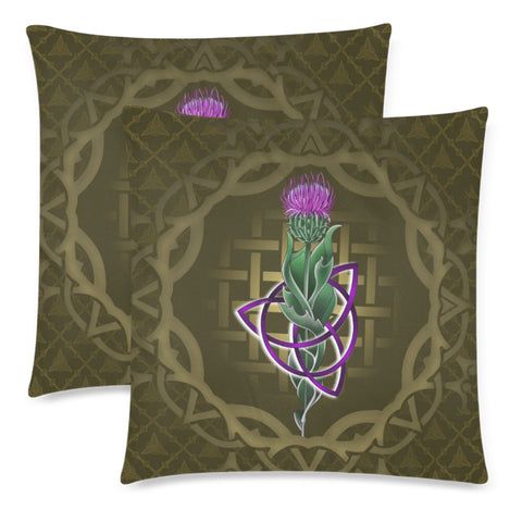 Image of Scotland Pillow Case - Thistle Celtic Knot Circle Frame A24