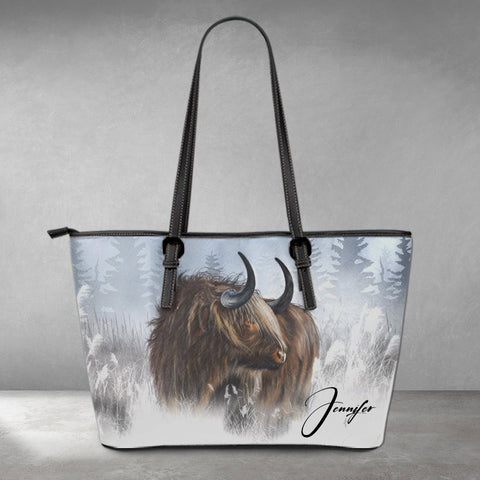 (Custom) Scotland Leather Tote - Winter Highland Cow | 1stScotland
