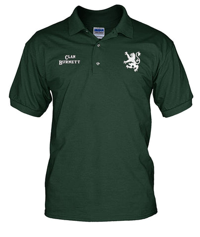 Clan Burnett Scottish Rampant Lion Mens Polo Shirt | Over 300 Clans | Special Custom Design | Love Scotland