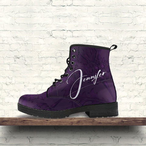(Custom) Scotland Leather Boots Purple Thistle Personal Signature A02