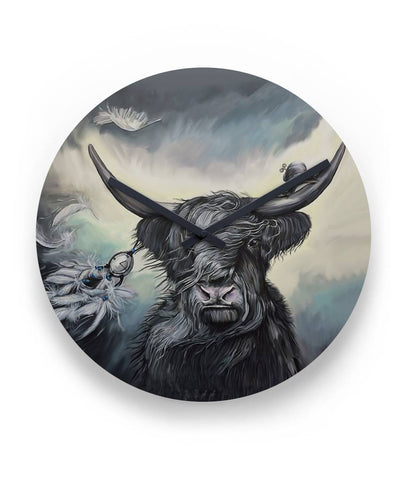 "Scottish Highland Cow - 11"" Round Wall Clock 