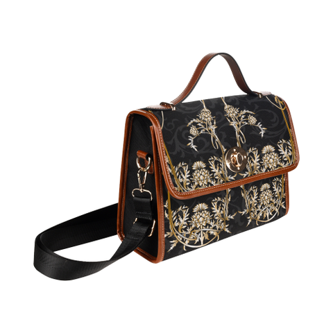 Image of Dark Thistle Pattern - Waterproof Canvas Bag | Special Custom Design
