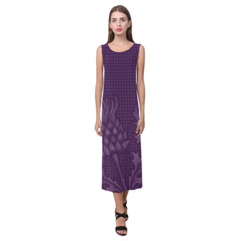 Image of Scotland Dress - Purple Thistle Phaedra Sleeveless Open Fork Long Dress | HOT Sale