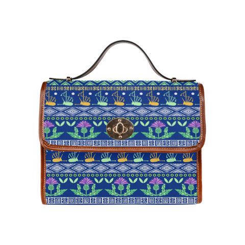 Blue Thistle Pattern - Waterproof Canvas Bag | Special Custom Design