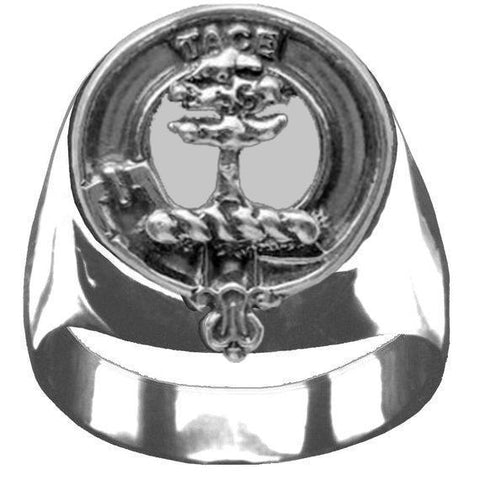 Abercrombie Tartan Inscribed Rings - Tartan Ring Clan Crest Sterling Silver
