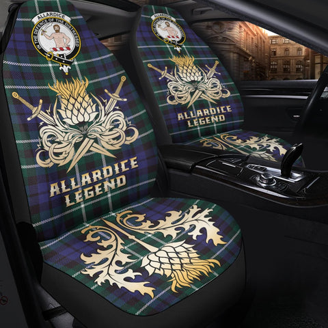 Tartan Car Seat Cover, Allardice Clan Crest Gold Thistle Courage Symbol Scottish Car Seat Cover A9
