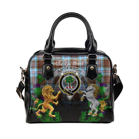 Anderson Ancient Crest Tartan Lion Unicorn Thistle Shoulder Handbag