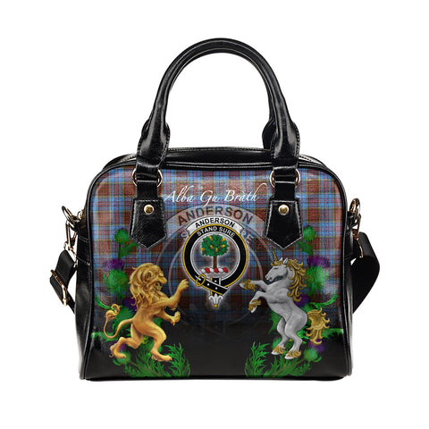 Anderson Modern Crest Tartan Lion Unicorn Thistle Shoulder Handbag