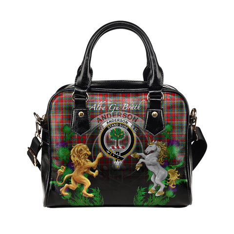 Anderson of Arbrake Crest Tartan Lion Unicorn Thistle Shoulder Handbag
