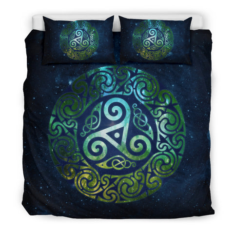 Image of Celtic Triple Spiral Galaxy Bedding Set - Green Edition (Black) | HOT Sale