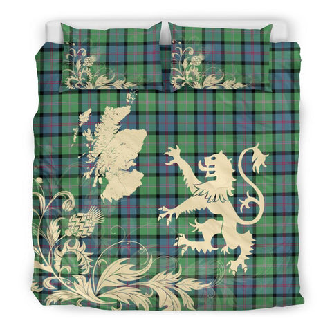 Tartan Bedding Set, MacThomas Ancient Scotland Lion Thistle Map Scottish Printed Bedding Set A9