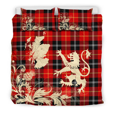 Tartan Bedding Set, Marjoribanks Scotland Lion Thistle Map Scottish Printed Bedding Set A9